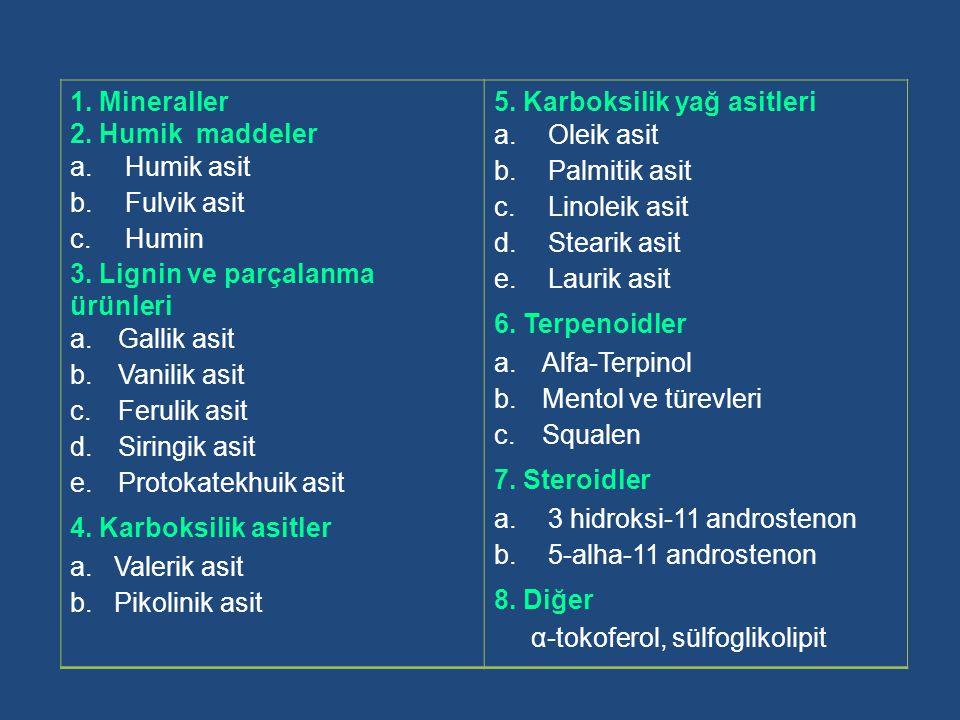 1. Mineraller 2. Humik maddeler a. Humik asit b. Fulvik asit c. Humin 3. Lignin ve parçalanma ürünleri a.Gallik asit b.Vanilik asit c.Ferulik asit d.S