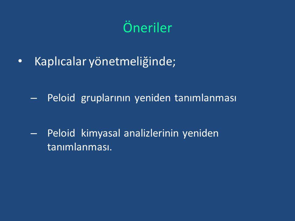 Öneriler Kaplıcalar yönetmeliğinde; – Peloid gruplarının yeniden tanımlanması – Peloid kimyasal analizlerinin yeniden tanımlanması.