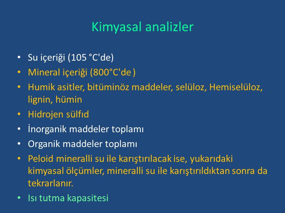 Kimyasal analizler Su içeriği (105 °C'de) Mineral içeriği (800°C'de ) Humik asitler, bitüminöz maddeler, selüloz, Hemiselüloz, lignin, hümin Hidrojen