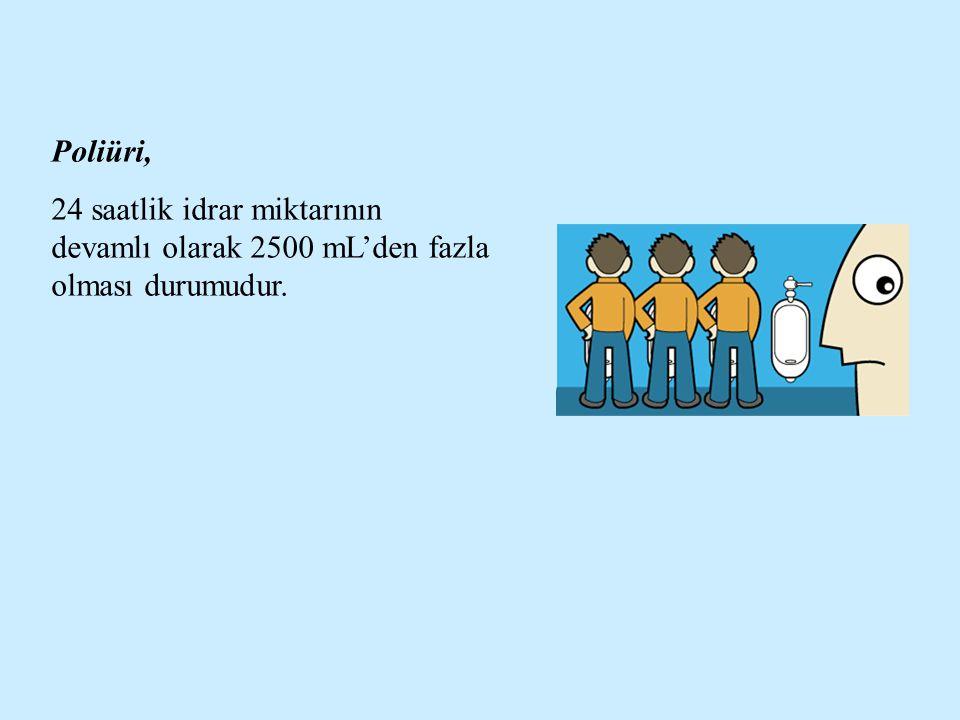 Poliüri, 24 saatlik idrar miktarının devamlı olarak 2500 mL'den fazla olması durumudur.
