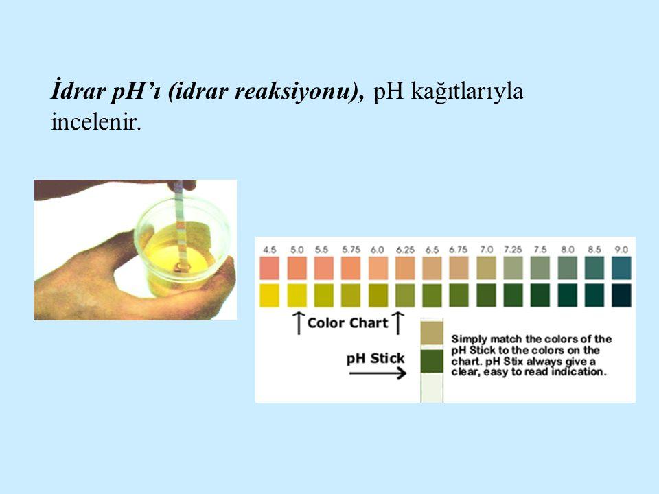 İdrar pH'ı (idrar reaksiyonu), pH kağıtlarıyla incelenir.