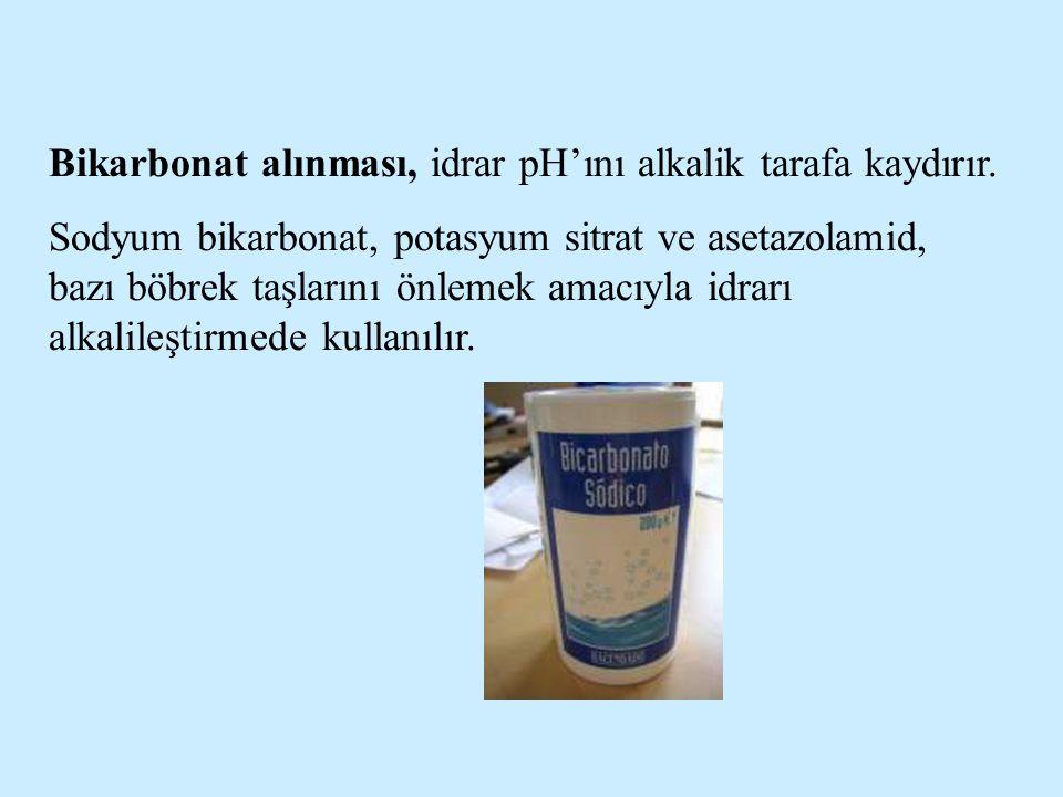 Bikarbonat alınması, idrar pH'ını alkalik tarafa kaydırır.