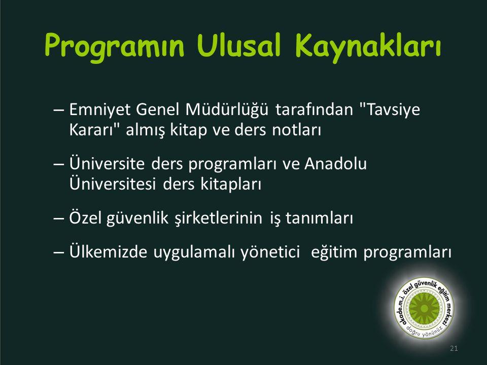 Programın Ulusal Kaynakları – Emniyet Genel Müdürlüğü tarafından