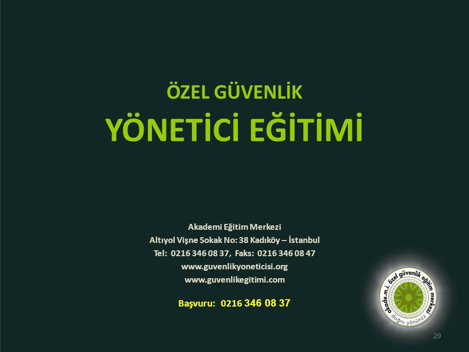 ÖZEL GÜVENLİK YÖNETİCİ EĞİTİMİ Akademi Eğitim Merkezi Altıyol Vişne Sokak No: 38 Kadıköy – İstanbul Tel: 0216 346 08 37, Faks: 0216 346 08 47 www.guve