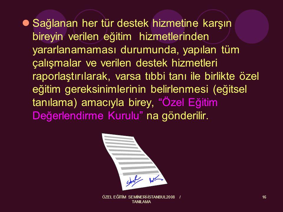 ÖZEL EĞİTİM SEMİNERİ-İSTANBUL2008 / TANILAMA 16 Sağlanan her tür destek hizmetine karşın bireyin verilen eğitim hizmetlerinden yararlanamaması durumun