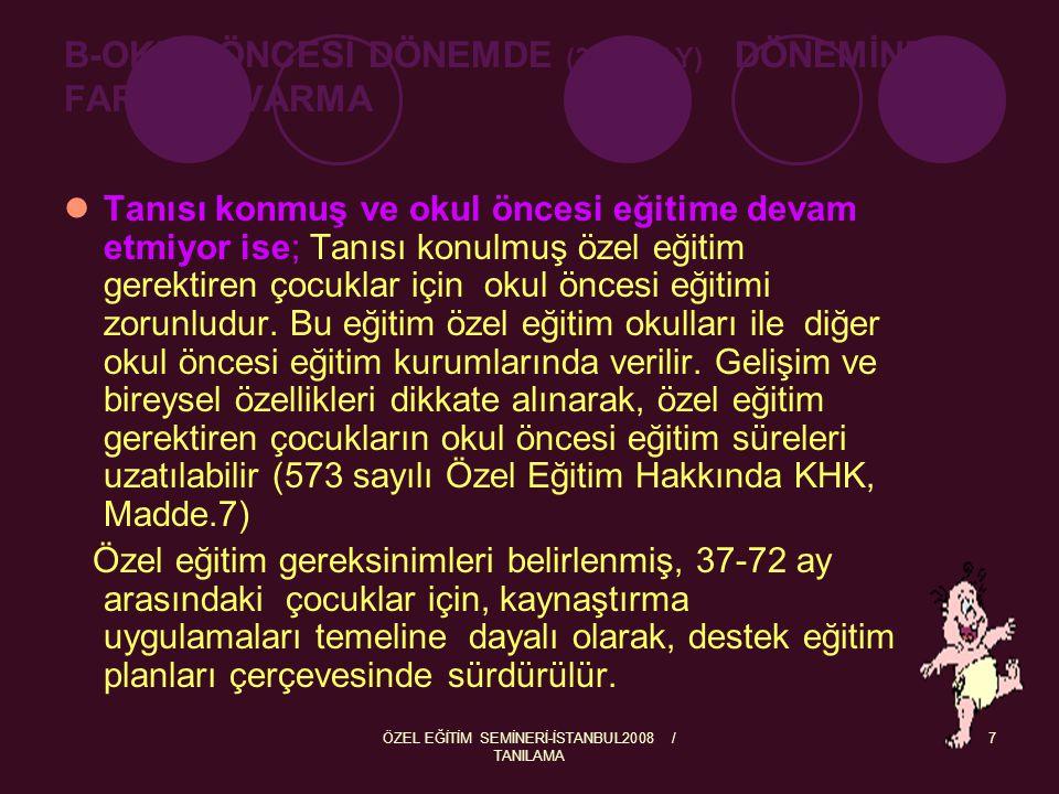 ÖZEL EĞİTİM SEMİNERİ-İSTANBUL2008 / TANILAMA 7 B-OKUL ÖNCESİ DÖNEMDE (36-72 AY) DÖNEMİNDE FARKINA VARMA Tanısı konmuş ve okul öncesi eğitime devam etm
