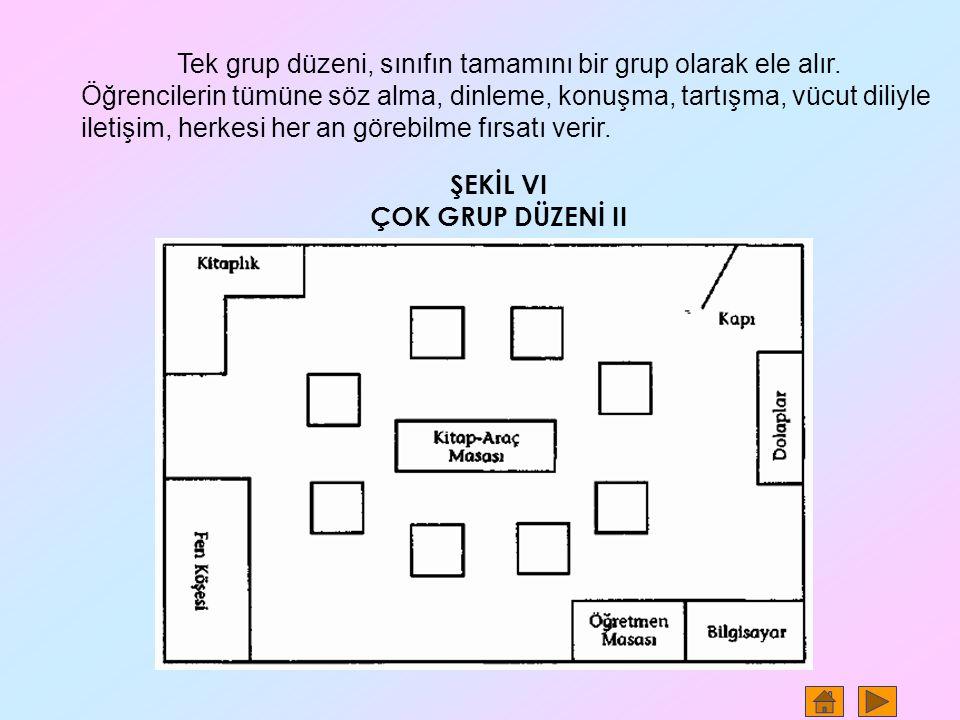 Tek grup düzeni, sınıfın tamamını bir grup olarak ele alır. Öğrencilerin tümüne söz alma, dinleme, konuşma, tartışma, vücut diliyle iletişim, herkesi