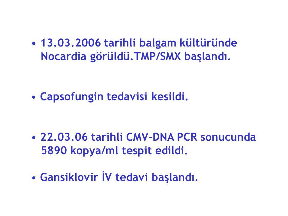 13.03.2006 tarihli balgam kültüründe Nocardia görüldü.TMP/SMX başlandı.