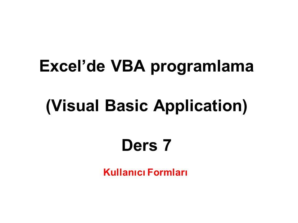 Excel'de VBA programlama (Visual Basic Application) Ders 7 Kullanıcı Formları