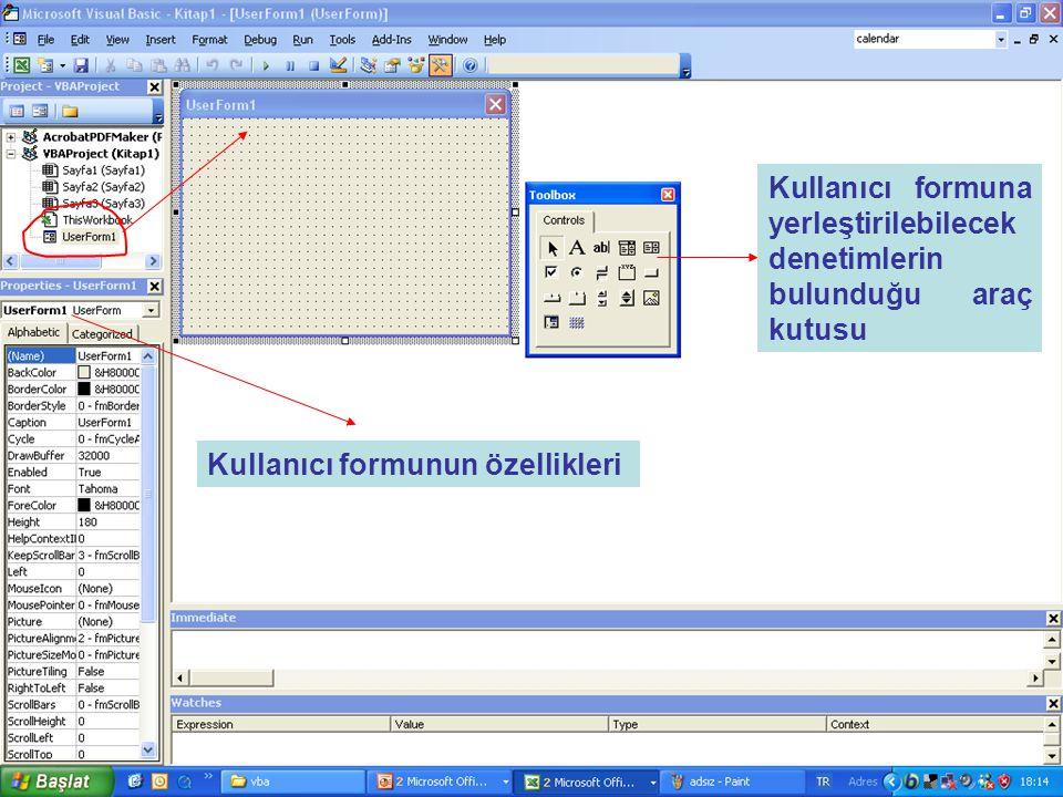 Kullanıcı formunun özellikleri Kullanıcı formuna yerleştirilebilecek denetimlerin bulunduğu araç kutusu