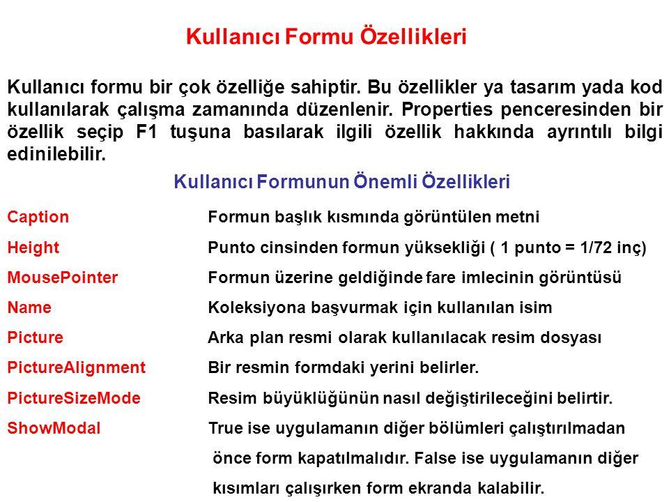 Kullanıcı Formuna Kontrol Eklemek Kullanıcı formunun en önemli kısmını oluşturur.
