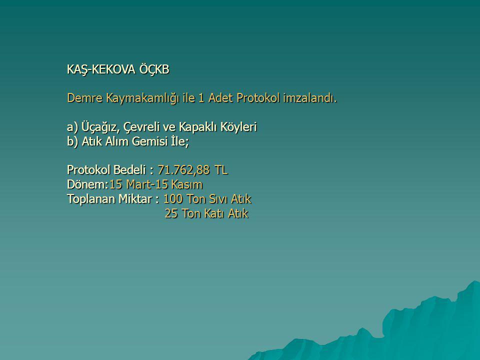 KAŞ-KEKOVA ÖÇKB Demre Kaymakamlığı ile 1 Adet Protokol imzalandı.