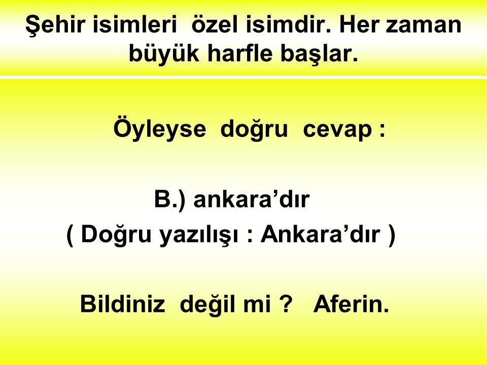 4.) Hangi cümlenin yazılışında yanlışlık yapılmıştır ? A.) Bugün Ahmetler gelecek. B.) Türkiye'nin başkenti ankara'dır. C.) Atatürk çocukları çok seve