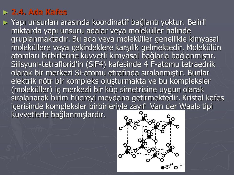► 2.4. Ada Kafes ► Yapı unsurları arasında koordinatif bağlantı yoktur. Belirli miktarda yapı unsuru adalar veya moleküller halinde gruplanmaktadır. B