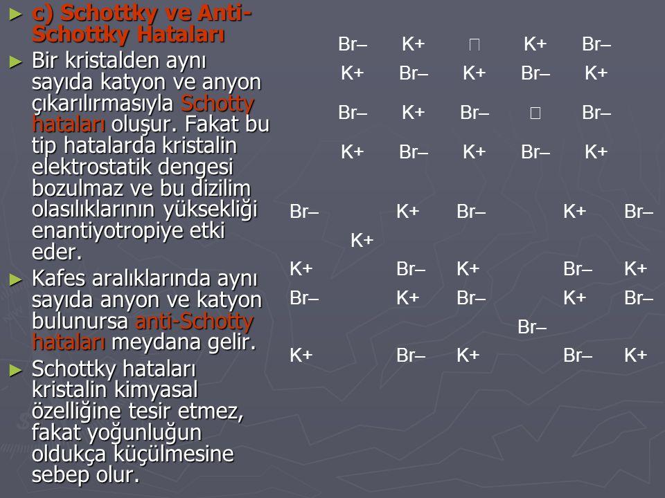 ► c) Schottky ve Anti- Schottky Hataları ► Bir kristalden aynı sayıda katyon ve anyon çıkarılırmasıyla Schotty hataları oluşur. Fakat bu tip hatalarda