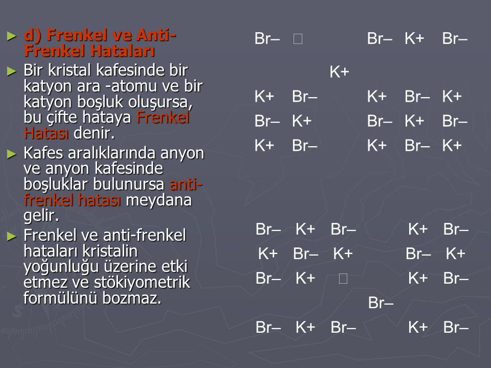 ► d) Frenkel ve Anti- Frenkel Hataları ► Bir kristal kafesinde bir katyon ara -atomu ve bir katyon boşluk oluşursa, bu çifte hataya Frenkel Hatası den