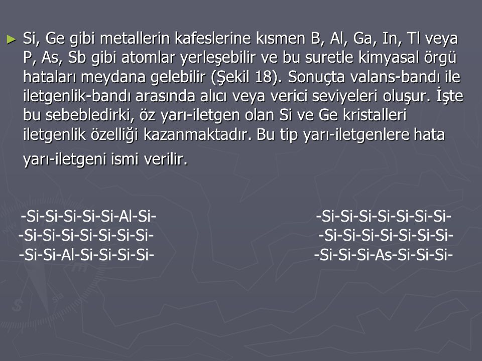 ► Si, Ge gibi metallerin kafeslerine kısmen B, Al, Ga, In, Tl veya P, As, Sb gibi atomlar yerleşebilir ve bu suretle kimyasal örgü hataları meydana ge