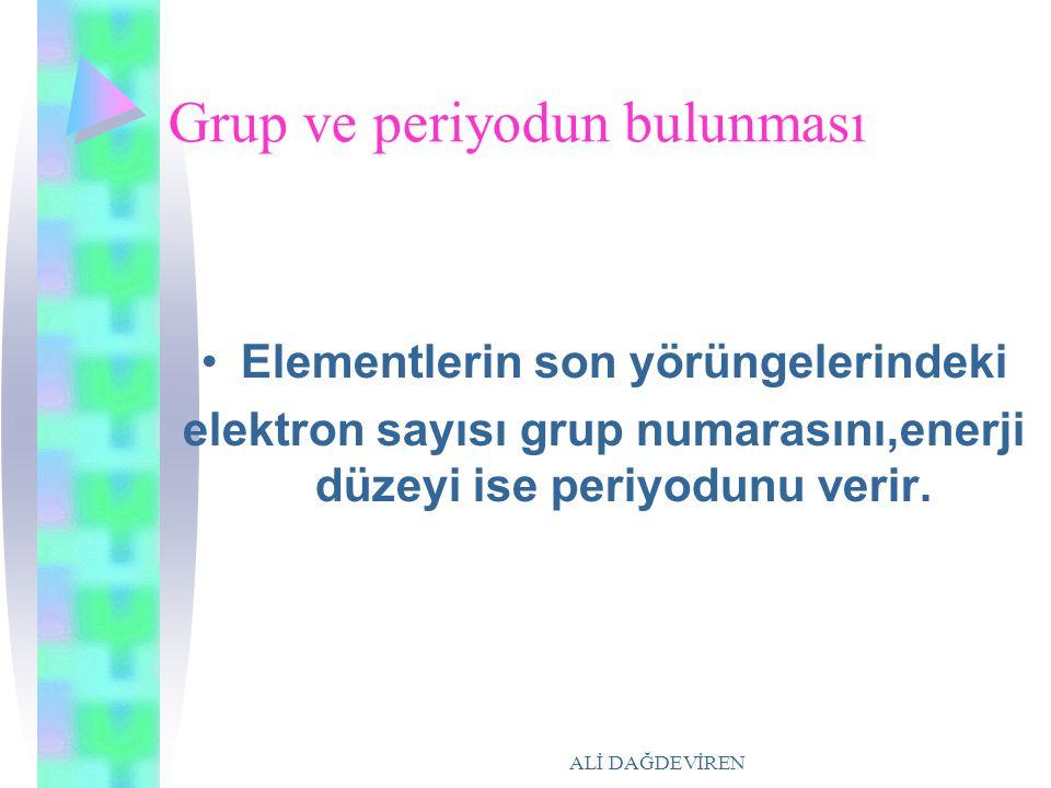 ALİ DAĞDEVİREN Grup ve periyodun bulunması Elementlerin son yörüngelerindeki elektron sayısı grup numarasını,enerji düzeyi ise periyodunu verir.