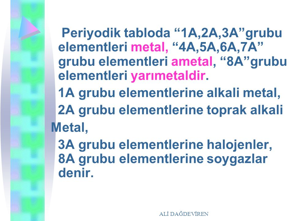 "ALİ DAĞDEVİREN Periyodik tabloda ""1A,2A,3A""grubu elementleri metal, ""4A,5A,6A,7A"" grubu elementleri ametal, ""8A""grubu elementleri yarımetaldir. 1A gru"