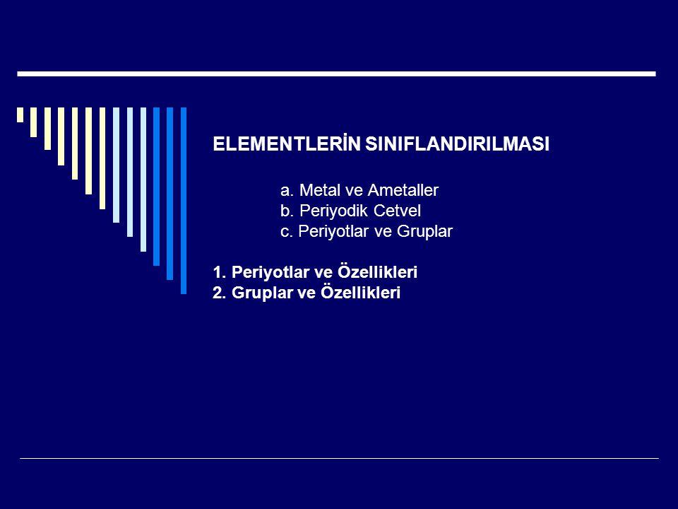 ELEMENTLERİN SINIFLANDIRILMASI a. Metal ve Ametaller b. Periyodik Cetvel c. Periyotlar ve Gruplar 1. Periyotlar ve Özellikleri 2. Gruplar ve Özellikle