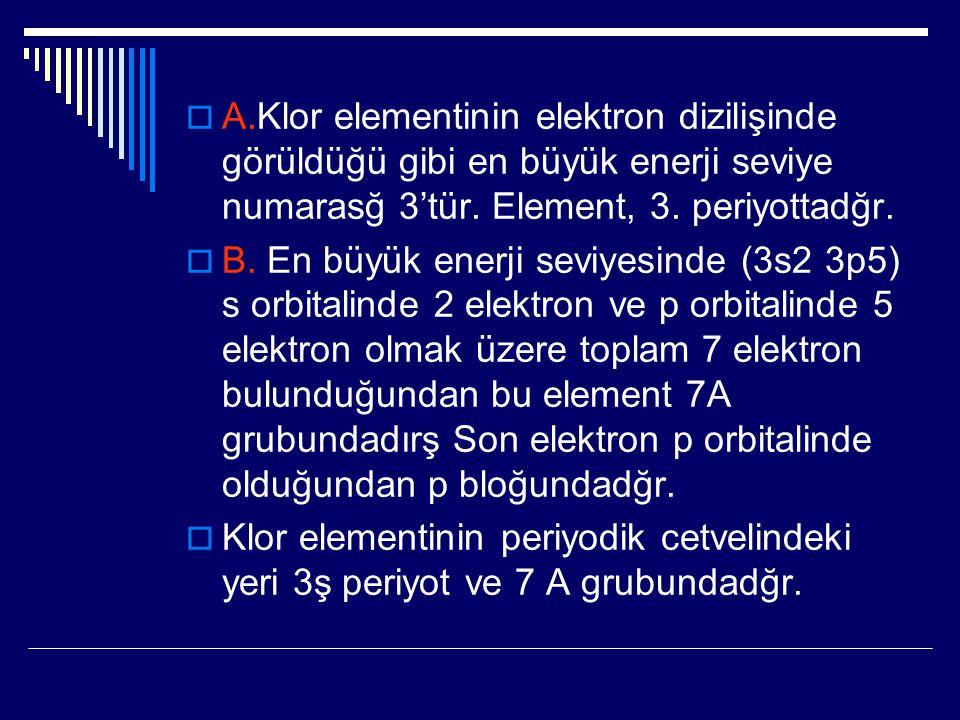  A.Klor elementinin elektron dizilişinde görüldüğü gibi en büyük enerji seviye numarasğ 3'tür. Element, 3. periyottadğr.  B. En büyük enerji seviyes
