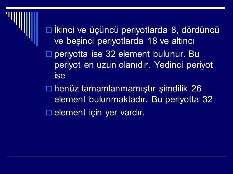  İkinci ve üçüncü periyotlarda 8, dördüncü ve beşinci periyotlarda 18 ve altıncı  periyotta ise 32 element bulunur. Bu periyot en uzun olanıdır. Yed