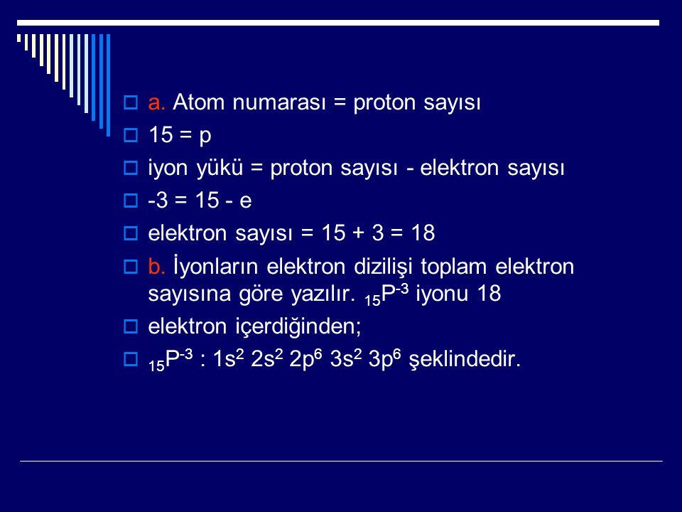  a. Atom numarası = proton sayısı  15 = p  iyon yükü = proton sayısı - elektron sayısı  -3 = 15 - e  elektron sayısı = 15 + 3 = 18  b. İyonların