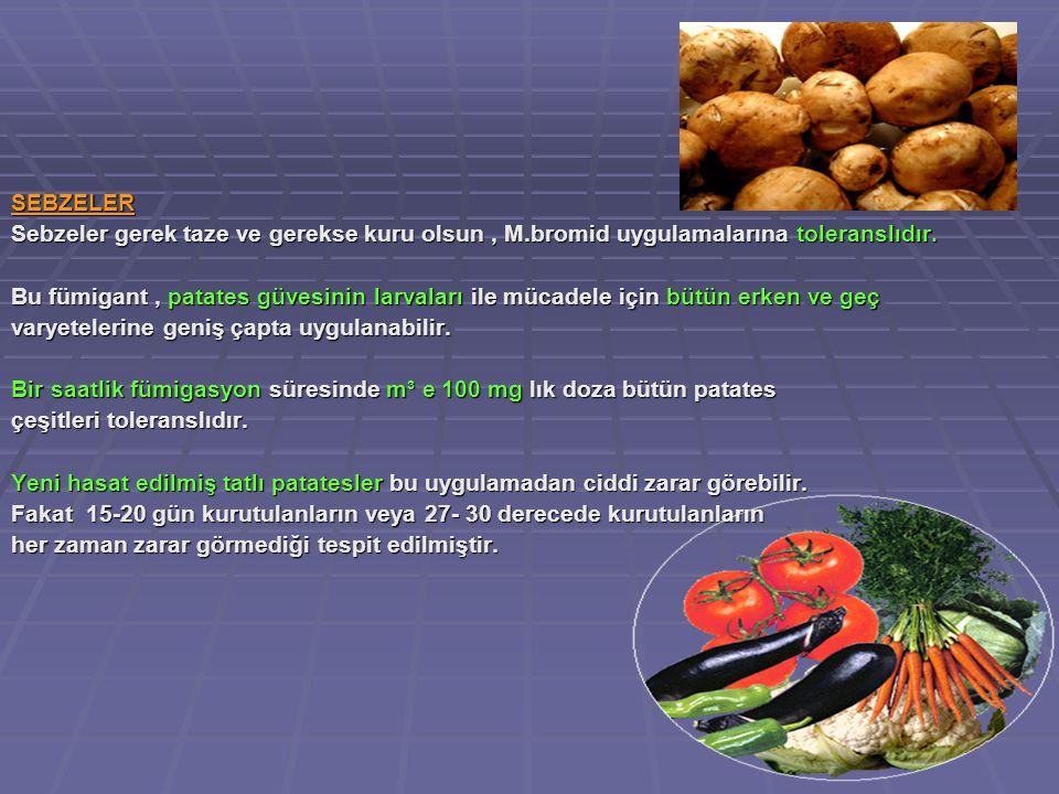 SEBZELER Sebzeler gerek taze ve gerekse kuru olsun, M.bromid uygulamalarına toleranslıdır.