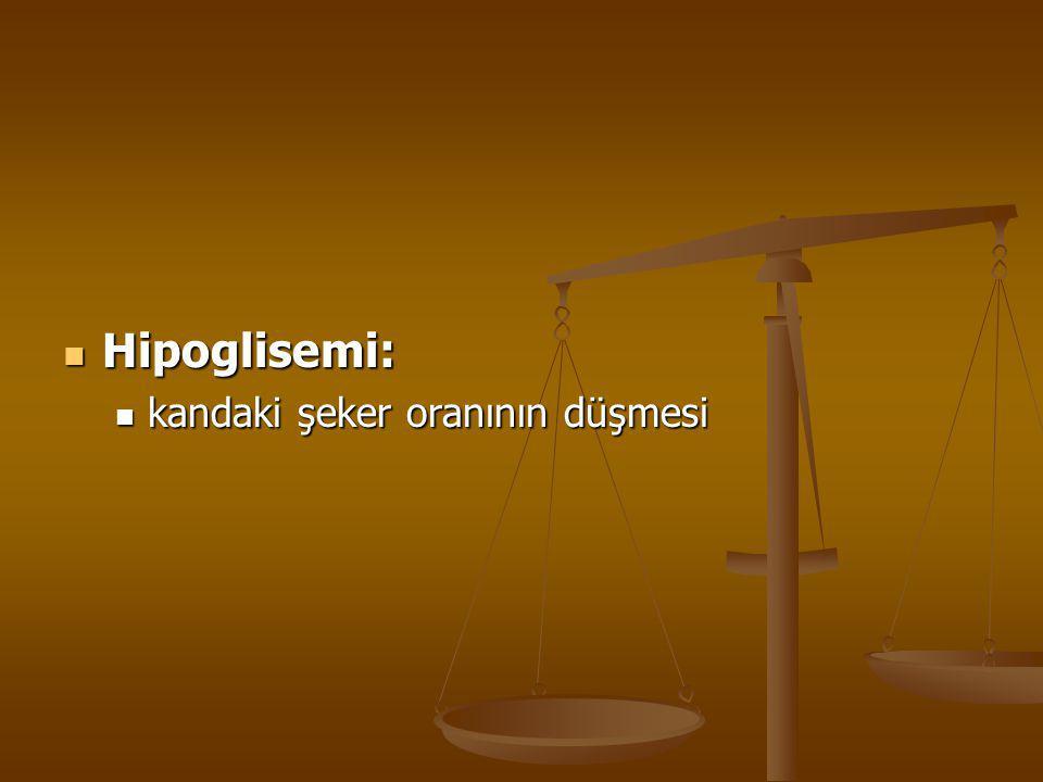 Hipoglisemi: Hipoglisemi: kandaki şeker oranının düşmesi kandaki şeker oranının düşmesi
