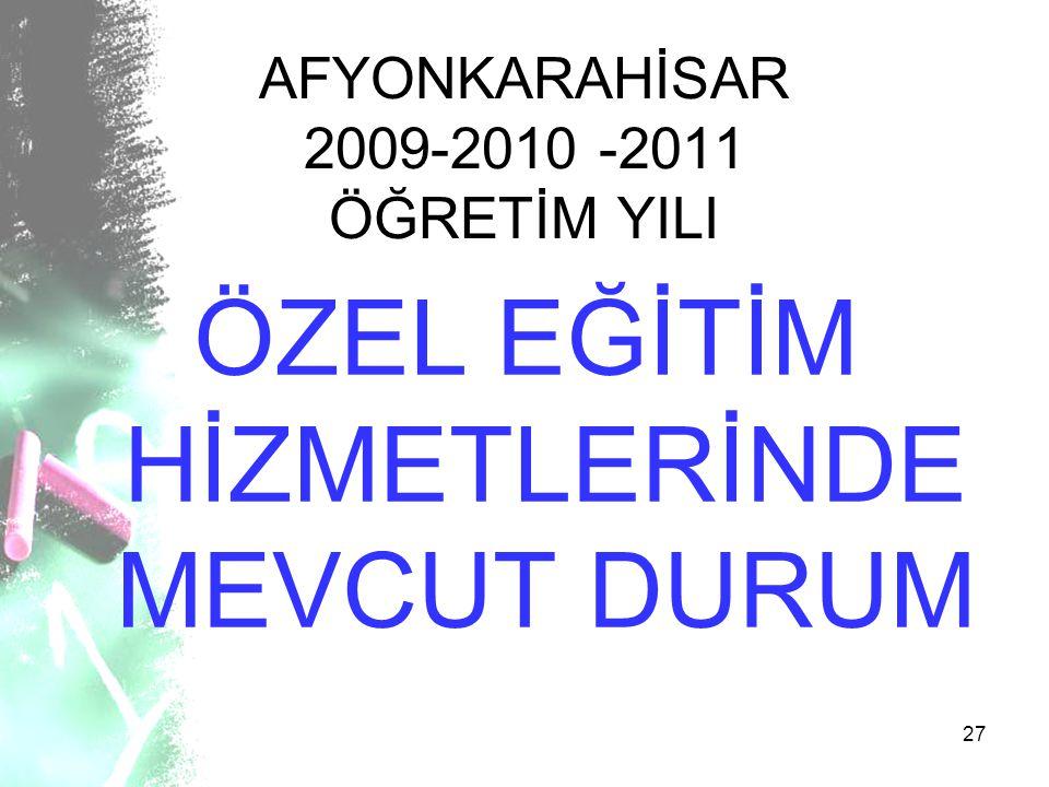 27 AFYONKARAHİSAR 2009-2010 -2011 ÖĞRETİM YILI ÖZEL EĞİTİM HİZMETLERİNDE MEVCUT DURUM