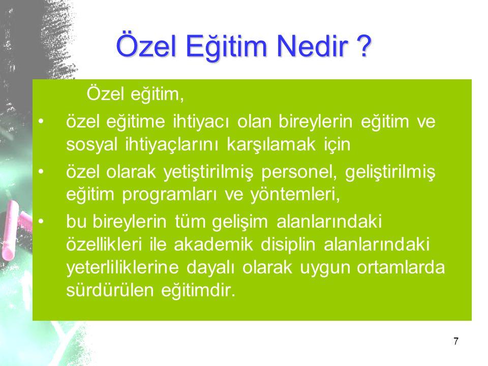 7 Özel Eğitim Nedir ? Özel eğitim, özel eğitime ihtiyacı olan bireylerin eğitim ve sosyal ihtiyaçlarını karşılamak için özel olarak yetiştirilmiş pers