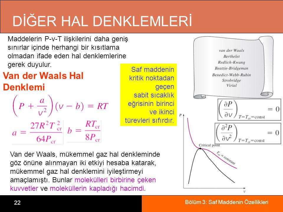 Bölüm 3: Saf Maddenin Özellikleri 22 DİĞER HAL DENKLEMLERİ Maddelerin P-v-T ilişkilerini daha geniş sınırlar içinde herhangi bir kısıtlama olmadan ifa