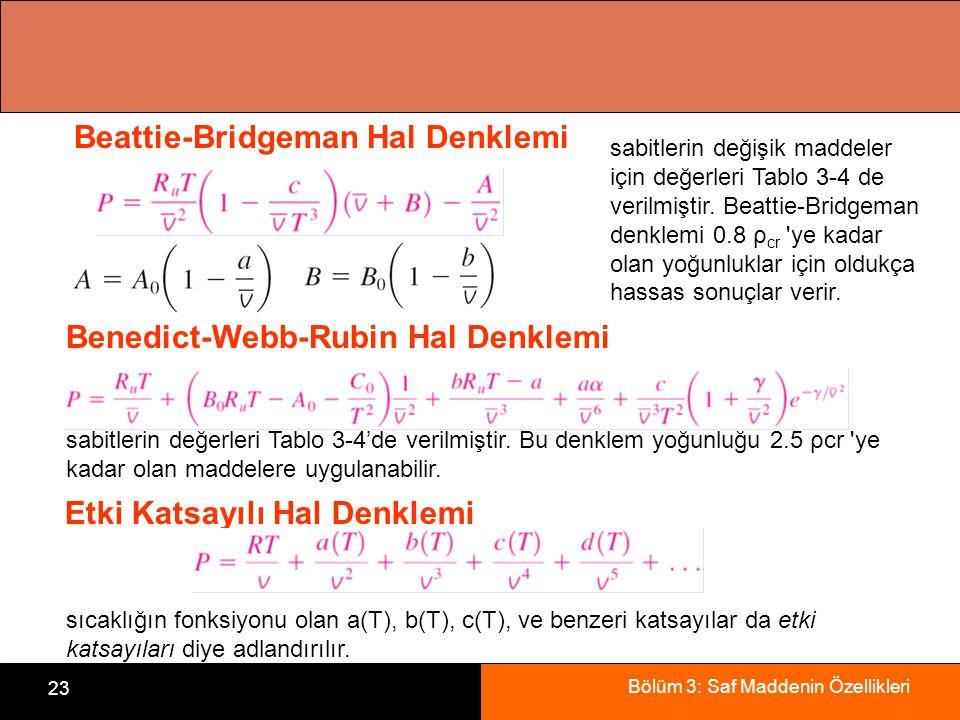 Bölüm 3: Saf Maddenin Özellikleri 23 Beattie-Bridgeman Hal Denklemi sabitlerin değişik maddeler için değerleri Tablo 3-4 de verilmiştir. Beattie-Bridg