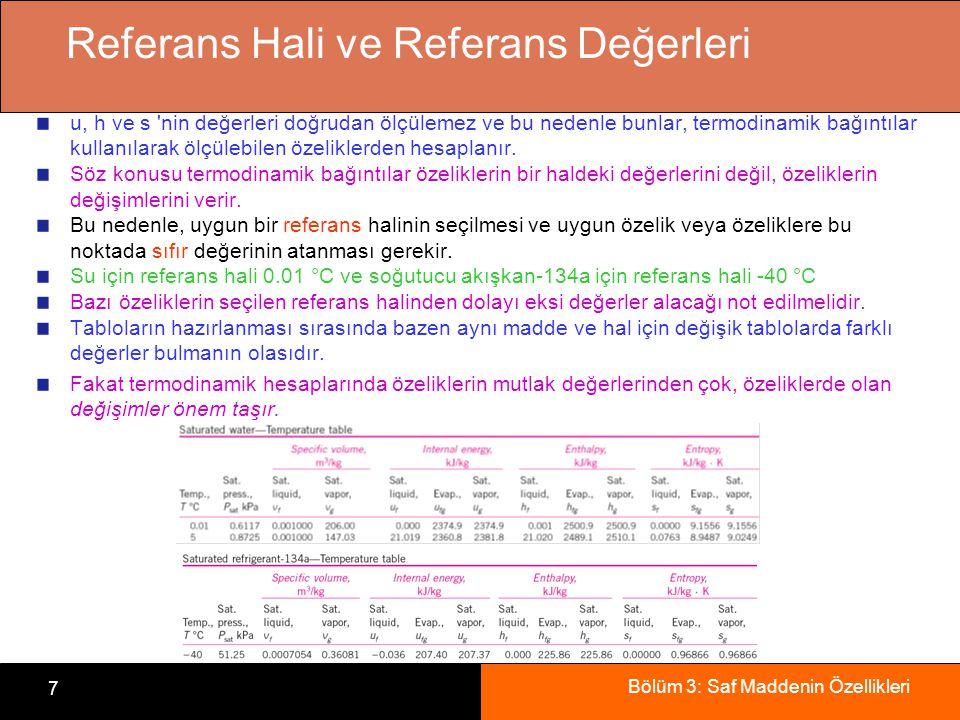 Bölüm 3: Saf Maddenin Özellikleri 7 Referans Hali ve Referans Değerleri u, h ve s 'nin değerleri doğrudan ölçülemez ve bu nedenle bunlar, termodinamik