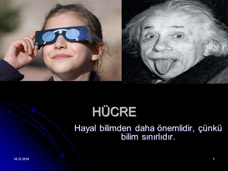 14.12.20141 HÜCRE Hayal bilimden daha önemlidir, çünkü bilim sınırlıdır.