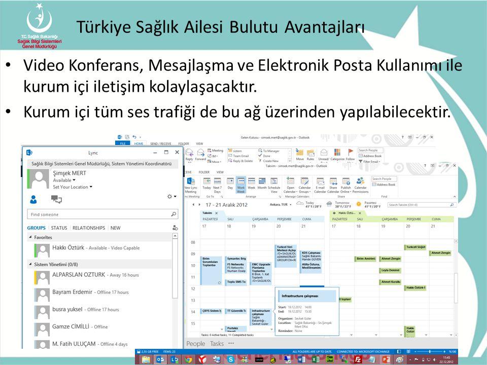 Türkiye Sağlık Ailesi Bulutu Avantajları Video Konferans, Mesajlaşma ve Elektronik Posta Kullanımı ile kurum içi iletişim kolaylaşacaktır. Kurum içi t