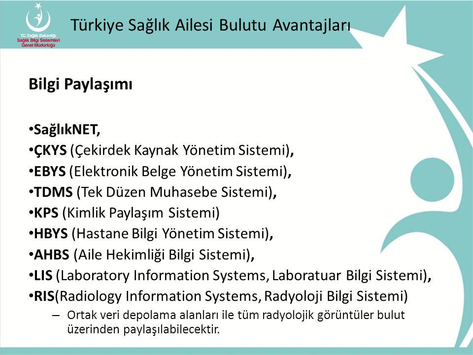 Türkiye Sağlık Ailesi Bulutu Avantajları Bilgi Paylaşımı SağlıkNET, ÇKYS (Çekirdek Kaynak Yönetim Sistemi), EBYS (Elektronik Belge Yönetim Sistemi), T