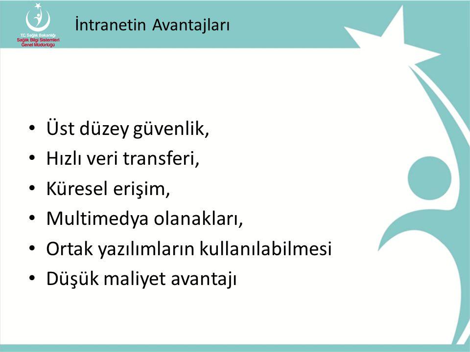 Türkiye'de İntranet Ağları Pol.NET - Emniyet Genel Müdürlüğü – 29 Nisan 2011 – 80 bin aktif (toplam 350 bin) kullanıcı Genelkurmay Başkanlığı İntraneti (TSKNet), Adalet Bakanlığı Ulusal Yargı Ağı Projesi İntraneti (UYAP), Tapu ve Kadastro Genel Müdürlüğü İntraneti (Takbis)
