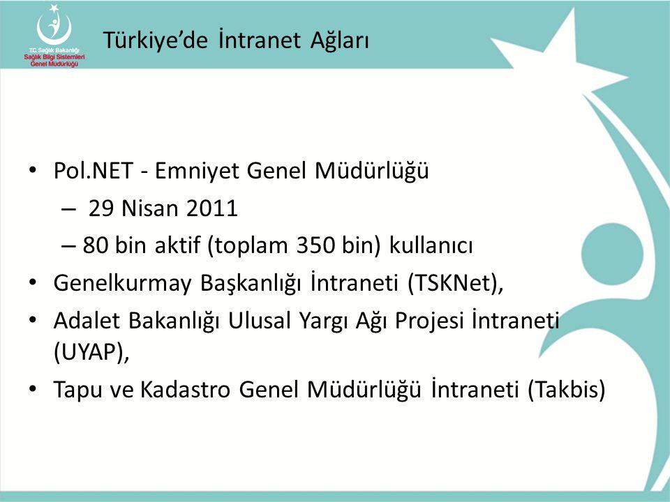 Türkiye'de İntranet Ağları Pol.NET - Emniyet Genel Müdürlüğü – 29 Nisan 2011 – 80 bin aktif (toplam 350 bin) kullanıcı Genelkurmay Başkanlığı İntranet
