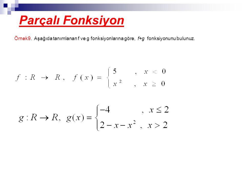 Parçalı Fonksiyon Örnek9. Aşağıda tanımlanan f ve g fonksiyonlarına göre, f+g fonksiyonunu bulunuz.