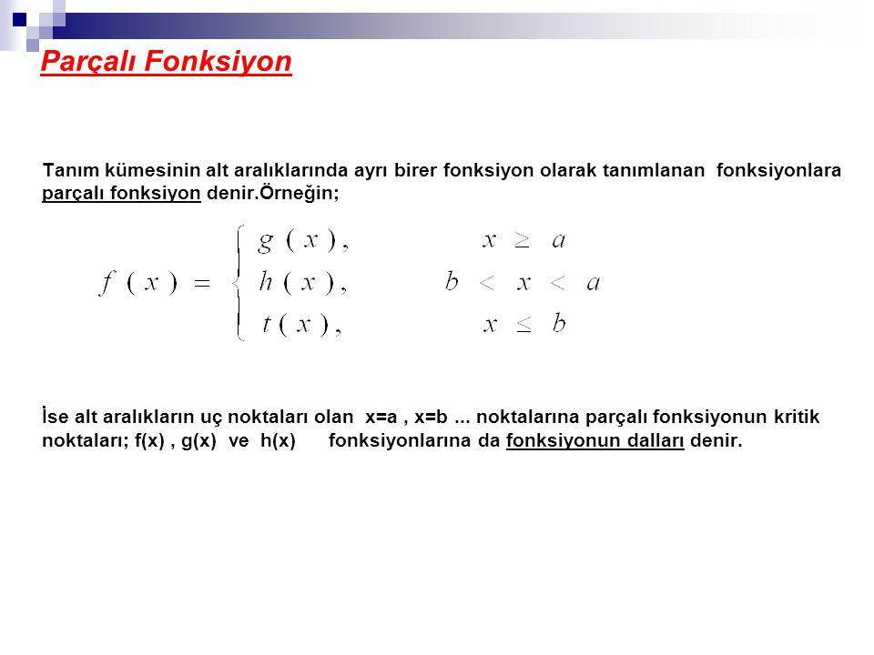 Parçalı Fonksiyon Tanım kümesinin alt aralıklarında ayrı birer fonksiyon olarak tanımlanan fonksiyonlara parçalı fonksiyon denir.Örneğin; İse alt aralıkların uç noktaları olan x=a, x=b...