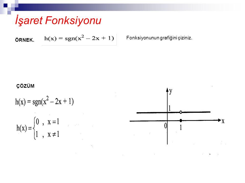 İşaret Fonksiyonu ÇÖZÜM ÖRNEK. Fonksiyonunun grafiğini çiziniz.