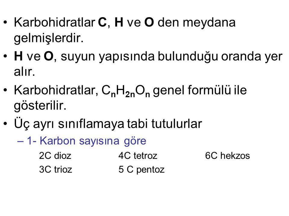 –2- Yapılarındaki aldehit ve keton gruplarına göre Fonksiyonel aldehit grubu içeren şekerlere aldozlar denir.