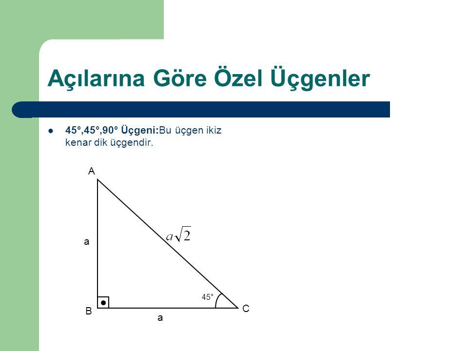 Açılarına Göre Özel Üçgenler 45°,45°,90° Üçgeni:Bu üçgen ikiz kenar dik üçgendir. A B C 45° a a