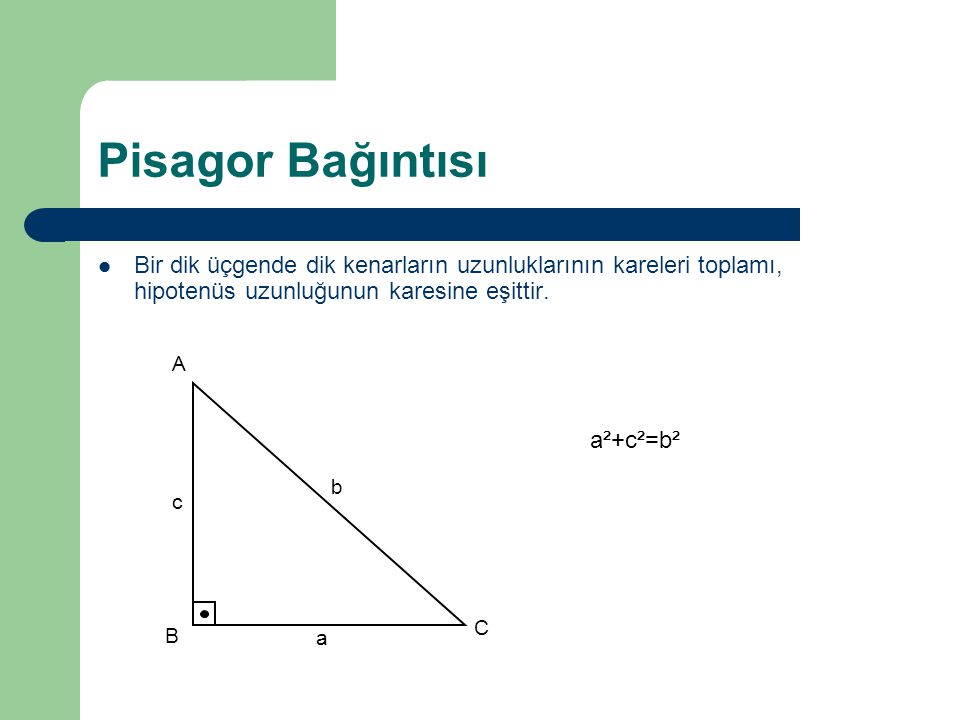 Pisagor Bağıntısı Bir dik üçgende dik kenarların uzunluklarının kareleri toplamı, hipotenüs uzunluğunun karesine eşittir. a b c A B C a²+c²=b²
