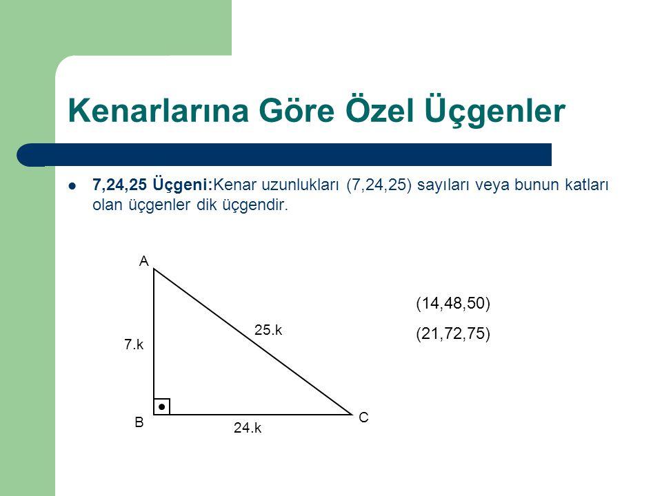 Kenarlarına Göre Özel Üçgenler 7,24,25 Üçgeni:Kenar uzunlukları (7,24,25) sayıları veya bunun katları olan üçgenler dik üçgendir. 7.k 24.k 25.k A B C