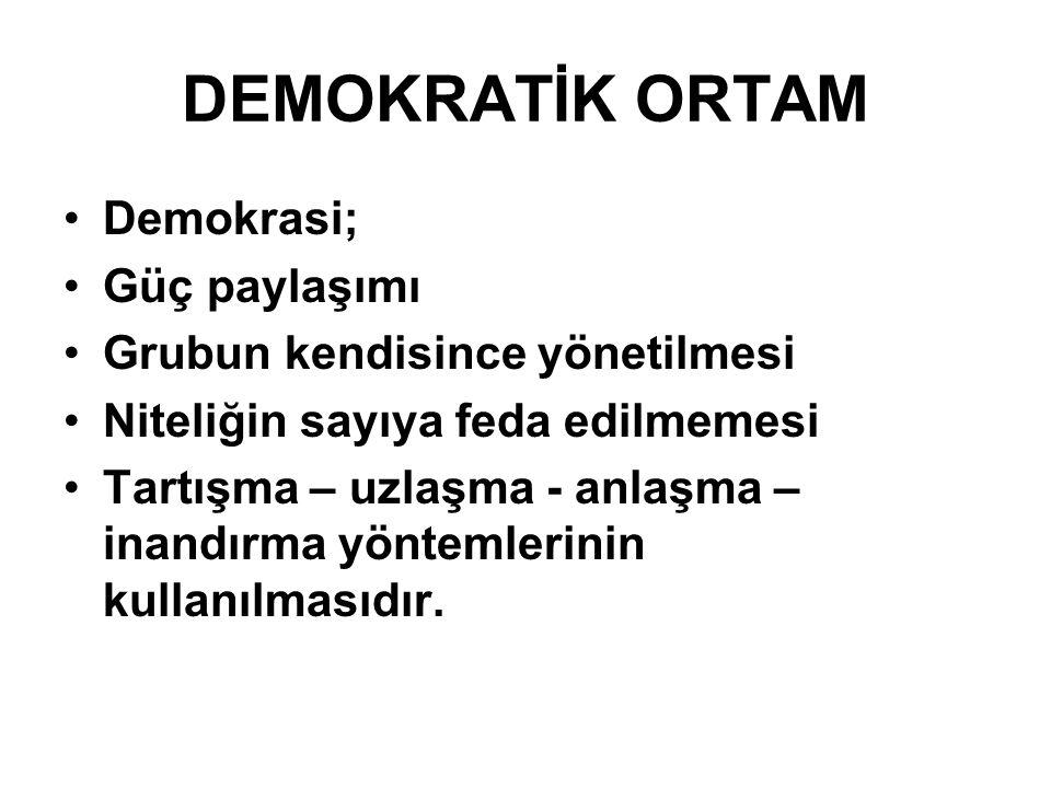 DEMOKRATİK ORTAM Demokrasi; Güç paylaşımı Grubun kendisince yönetilmesi Niteliğin sayıya feda edilmemesi Tartışma – uzlaşma - anlaşma – inandırma yönt