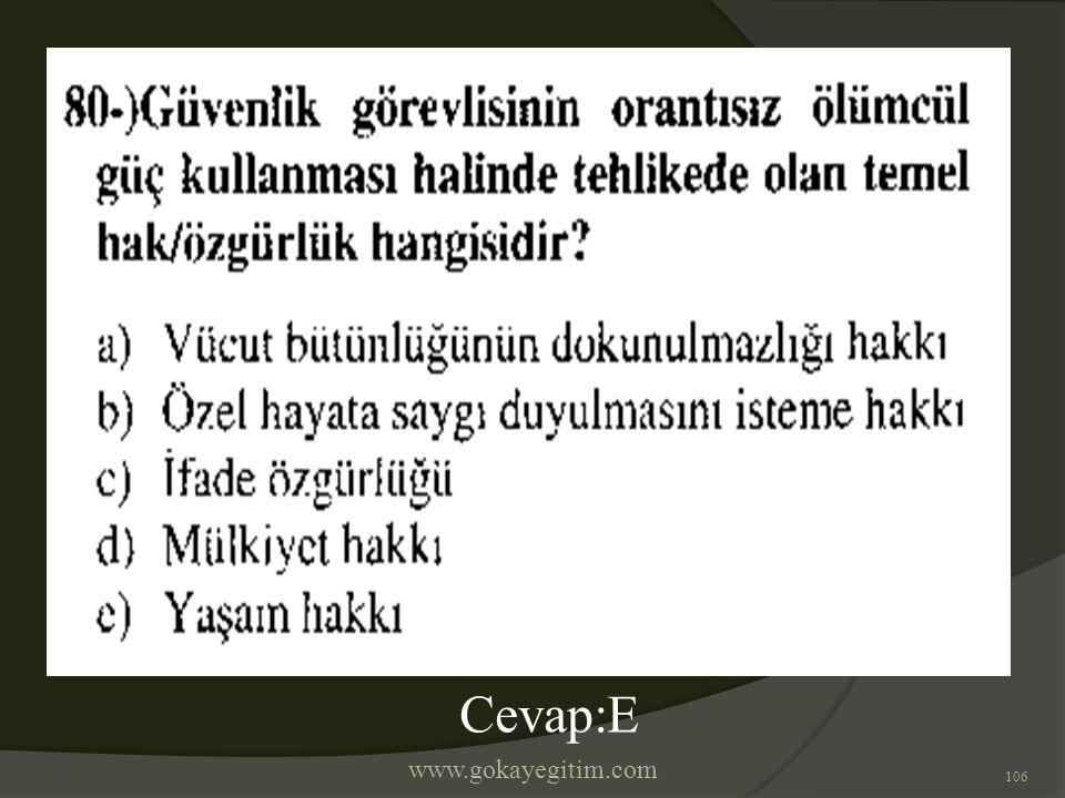 www.gokayegitim.com 106 Cevap:E