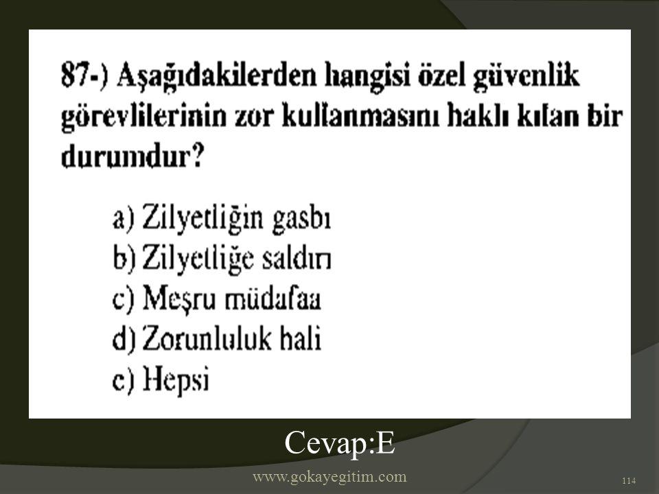www.gokayegitim.com 114 Cevap:E