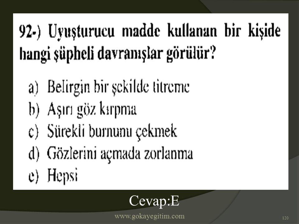 www.gokayegitim.com 120 Cevap:E